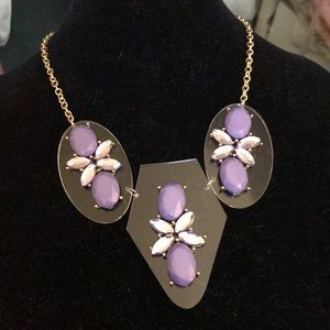 Gold chain plastic disks with purple stones